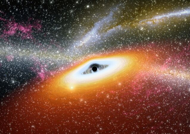 Concepção artística de um buraco negro supermassivo de ponto preto central primitivo