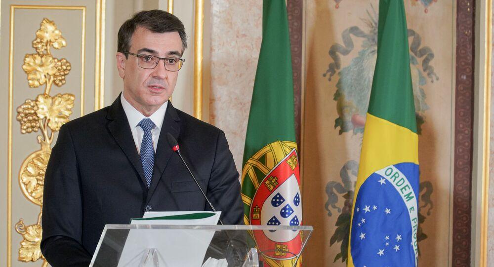O chanceler Carlos Alberto França, durante visita a Portugal, em 2 de julho de 2021