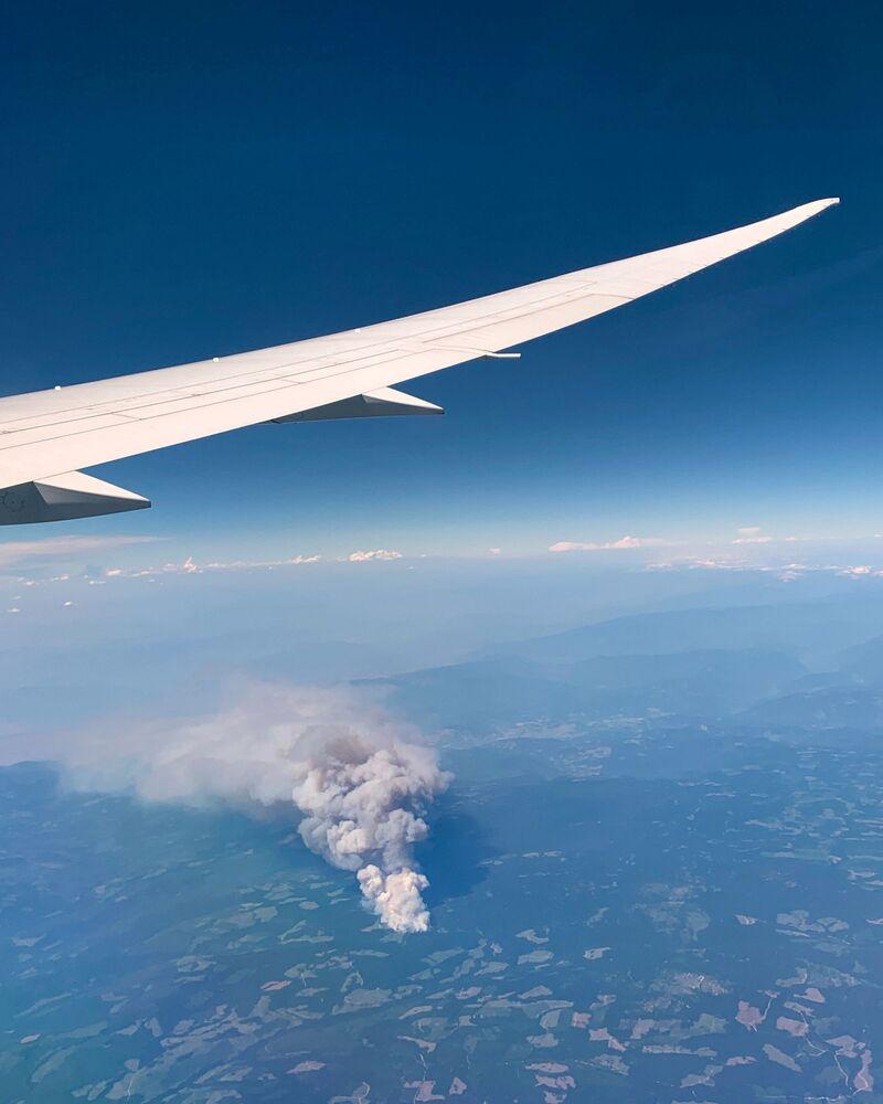 Incêndio na vila de Lytton, Canadá, vista aérea, 1º de julho de 2021