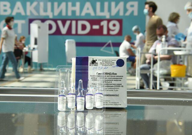 Vacina russa Sputnik V em um centro de vacinação em Moscou, 7 de julho de 2021