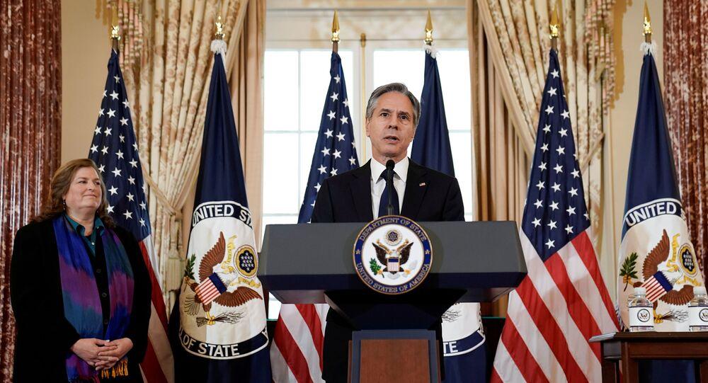 Secretário de Estado dos EUA, Antony Blinken, no Departamento de Estado, Washington, EUA, 1º de julho de 2021