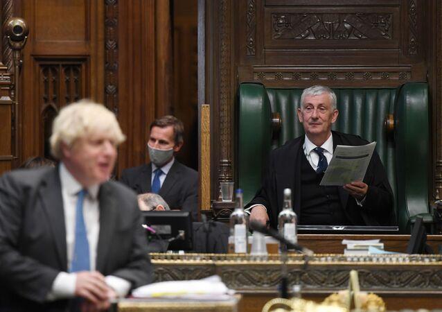 Primeiro-ministro britânico Boris Johnson responde a perguntas no Parlamento, Londres, 23 de junho de 2021
