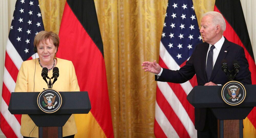 Presidente americano Joe Biden e chanceler alemã Angela Merkel durante coletiva de imprensa conjunta na Casa Branca, Washington, EUA, 15 de julho de 2021