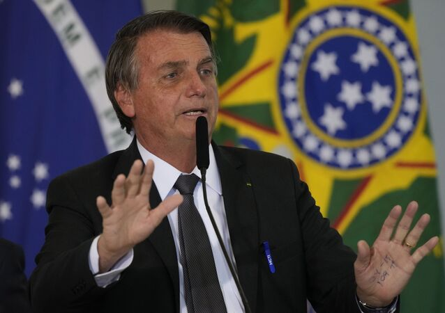 Presidente do Brasil, Jair Bolsonaro durante cerimônia em Brasília, em 13 de julho de 2021