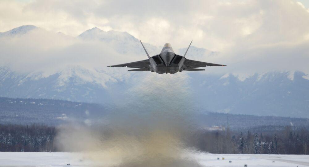 An Air Force F-22 Raptor assigned to the 3rd Wing flies over Joint Base Elmendorf-Richardson, Alaska, Feb. 27, 2018.