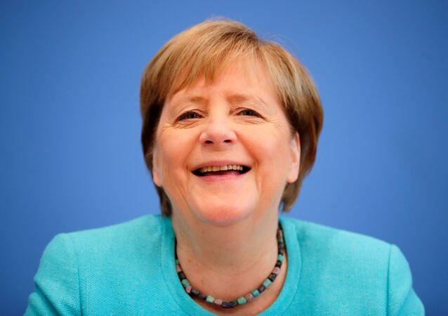 Chanceler alemã Angela Merkel durante sua coletiva de imprensa anual, Berlim, Alemanha, 22 de julho de 2021