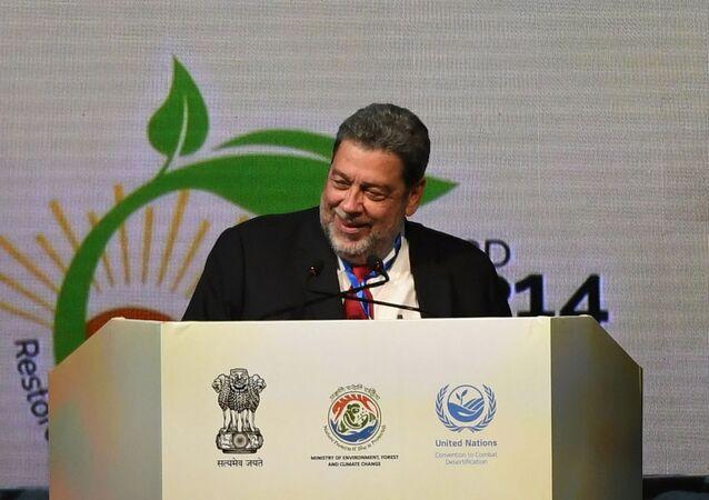 Primeiro-ministro de São Vicente e Granadinas, Ralph Gonsalves, falando na reunião da Convenção das Nações Unidas de Combate à Desertificação, na Índia, em 9 de setembro de 2019