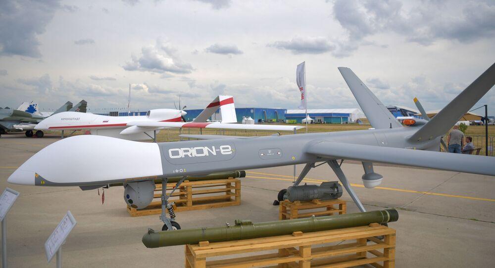Drone russo Orion no Salão Aeroespacial Internacional MAKS 2021, 21 de julho de 2021