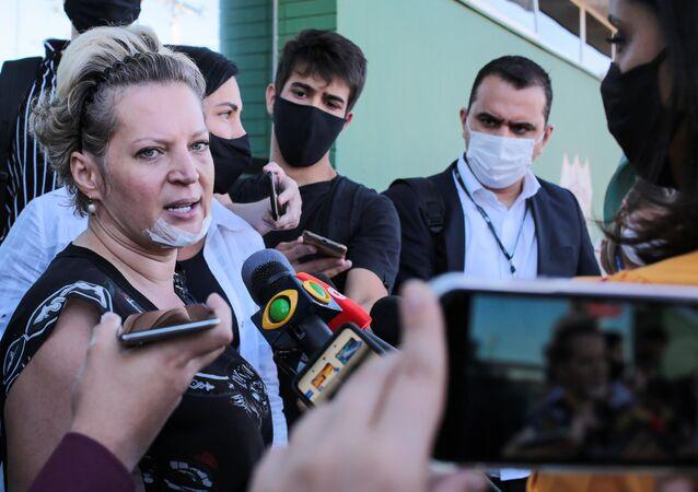 A deputada Joice Hasselmann (PSL-SP) prestou depoimento à Polícia Civil do Distrito Federal antes de se encaminhar ao IML para exames de corpo delito. Na cidade de Brasília, DF, 26 de julho de 2021
