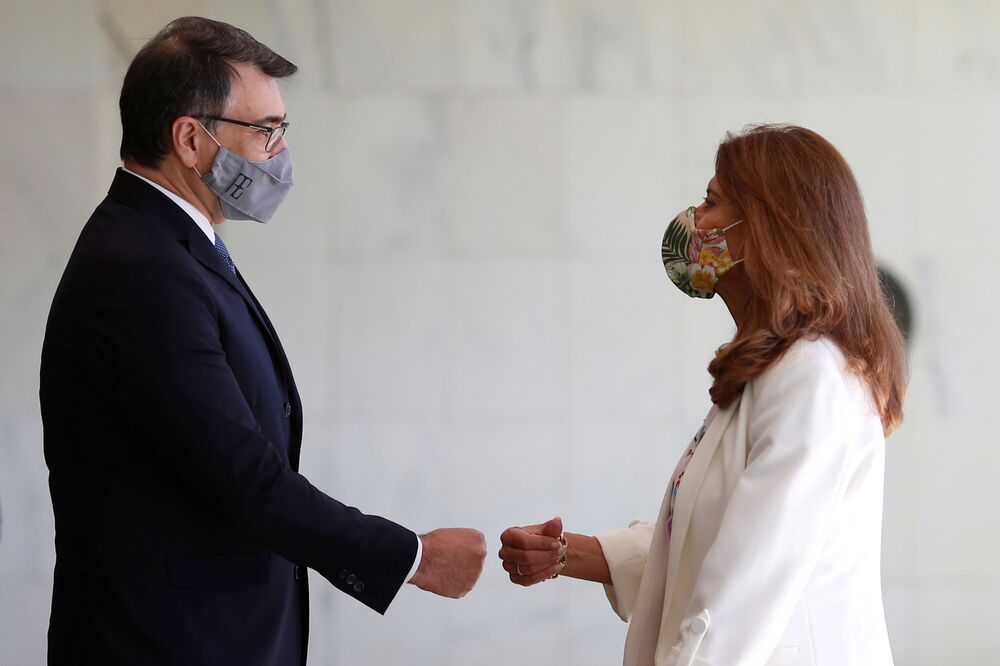 Ministro das Relações Exteriores do Brasil, Carlos Alberto França, se reúne em Brasília com a vice-presidente e a ministra das Relações Exteriores da Colômbia, Marta Ramirez, 12 de agosto de 2021