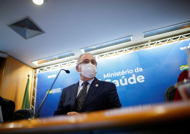 Ministro da Saúde Marcelo Queiroga durante coletiva de imprensa, 18 de agosto de 2021