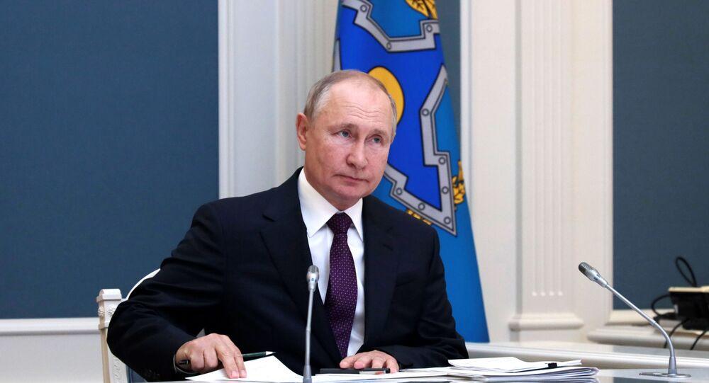 Presidente russo Vladimir Putin durante cúpula da Organização do Tratado de Segurança Coletiva, 23 de agosto de 2021