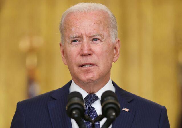 Joe Biden, presidente dos EUA, dá comentários sobre o Afeganistão na Sala Leste da Casa Branca em Washington, EUA, 26 de agosto de 2021