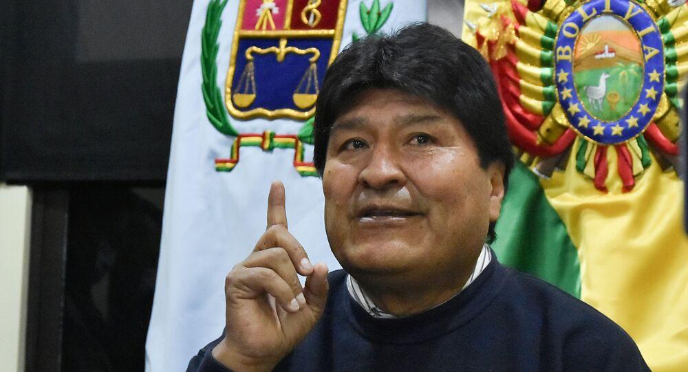 Ex-presidente da Bolívia Evo Morales durante coletiva de imprensa em Cochabamba, Bolívia, 18 de agosto de 2021