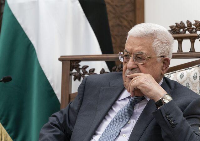 O presidente palestino Mahmoud Abbas faz na cidade de Ramallah, na Cisjordânia, 25 de maio de 2021