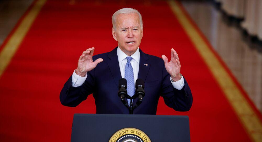 Presidente Joe Biden durante seu discurso à nação sobre a retirada do Afeganistão, Casa Branca, Washington, 31 de agosto de 2021