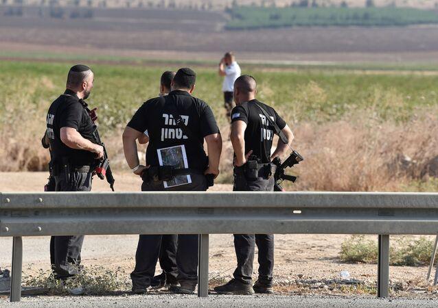 Serviço de segurança de Israel durante operação de busca de seis militantes palestinos que escaparam da prisão Gilboa, 6 de setembro de 2021