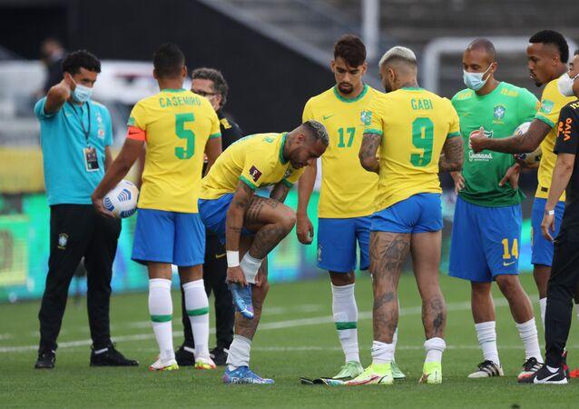Jogadores da Seleção Brasileira na Neo Química Arena, em São Paulo, 5 de setembro de 2021