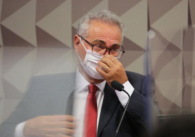 Senador Renan Calheiros (MDB-AL), relator da CPI da Covid, ouve o lobista Marconny Albernaz de Faria, no Senado Federal, em Brasília (DF), em 15 de setembro de 2021