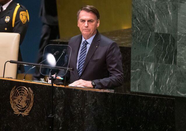 Presidente Jair Bolsonaro discursa na abertura da Assembleia Geral da ONU, em Nova York (EUA), 24 de setembro de 2019
