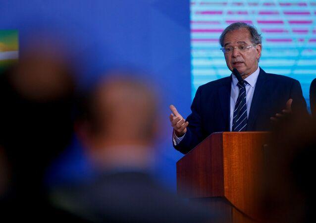 O ministro da Economia Paulo Guedes, durante cerimônia de lançamento das autorizações ferroviárias, em Brasília, 2 de setembro de 2021