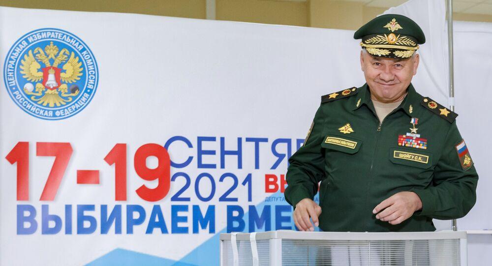 Ministro da Defesa da Rússia, Sergei Shoigu, vota no primeiro dia das eleições parlamentares na Rússia, Moscou, 17 de setembro de 2021