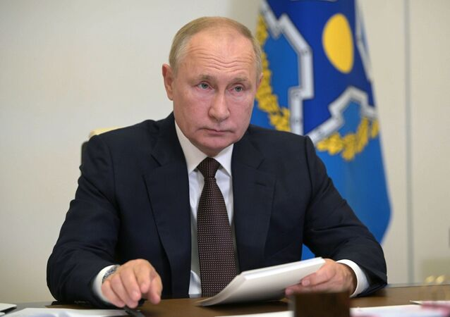 Vladimir Putin na reunião dos líderes dos países da Organização do Tratado de Segurança Coletiva em 16 de setembro de 2021