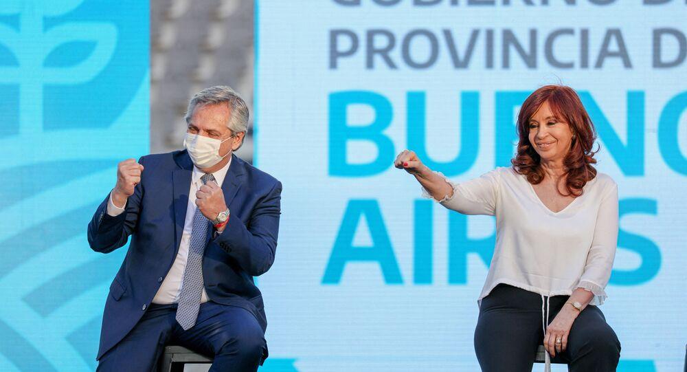 Presidente da Argentina Alberto Fernández e a vice, Cristina Kirchner