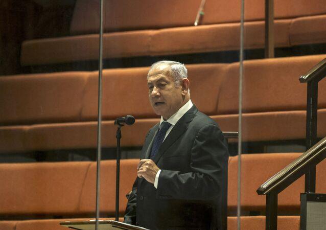 O ex-primeiro-ministro israelense Benjamin Netanyahu fala no Knesset (parlamento israelense) durante sessão plenária. Foto de arquivo