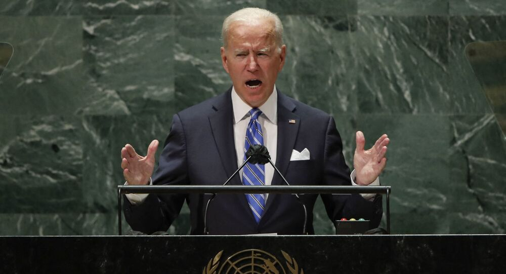 Presidente dos EUA, Joe Biden, discursa na 76ª sessão da Assembleia Geral da ONU em 21 de setembro de 2021 na sede da ONU, em Nova York, EUA
