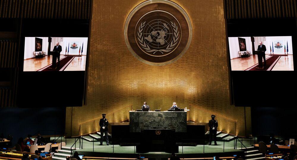 Presidente búlgaro Rumen Radev fala na 76ª Assembleia Geral da ONU, na sede da organização em Nova York, EUA, 21 de setembro de 2021