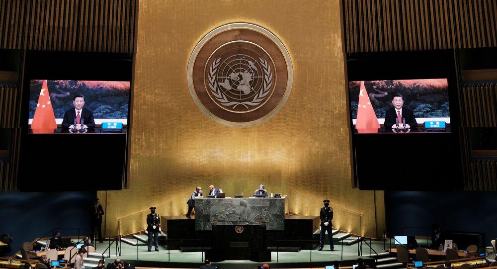 Presidente chinês, Xi Jinping, discursa por vídeoconferência durante a 76ª sessão da Assembleia Geral da ONU, Nova York, 21 de setembro de 2021