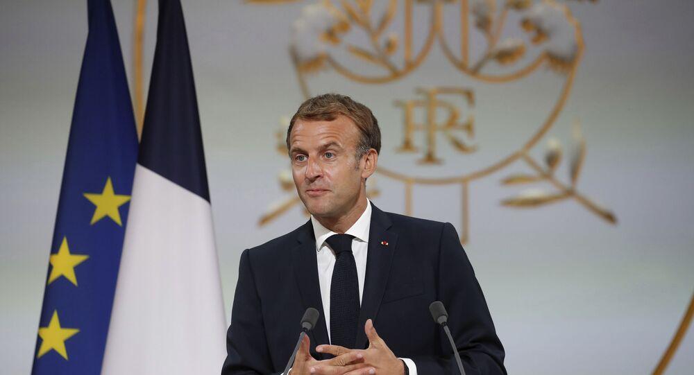 Presidente da França, Emmanuel Macron, no Palácio de Eliseu, 20 de setembro de 2021