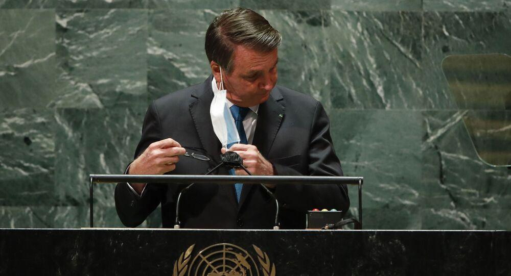 Jair Bolsonaro discursa na Assembleia Geral das Nações Unidas, em 21 de setembro de 2021
