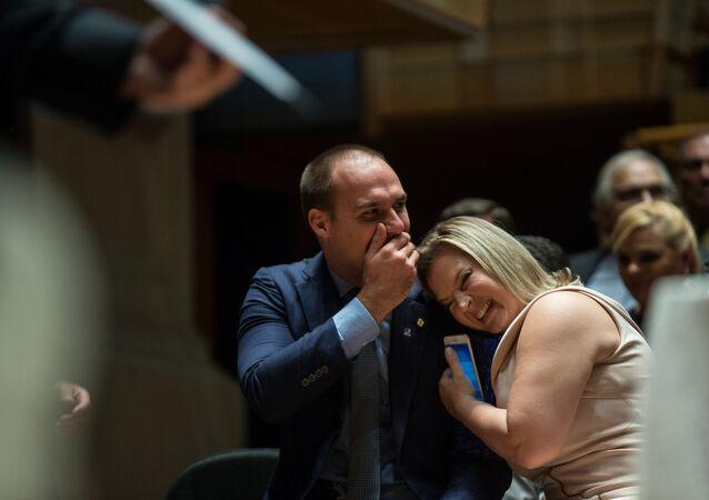 Os deputados federais Eduardo Bolsonaro e Joice Hasselmann. Foto de arquivo