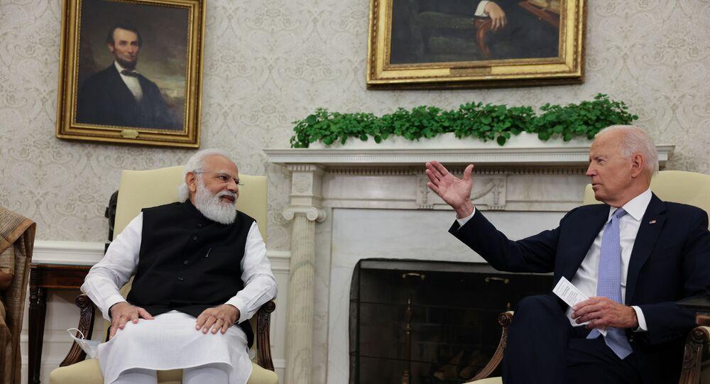Presidente dos EUA, Joe Biden em encontro com o primeiro-ministro da Índia, Narendra Modi, na Casa Branca