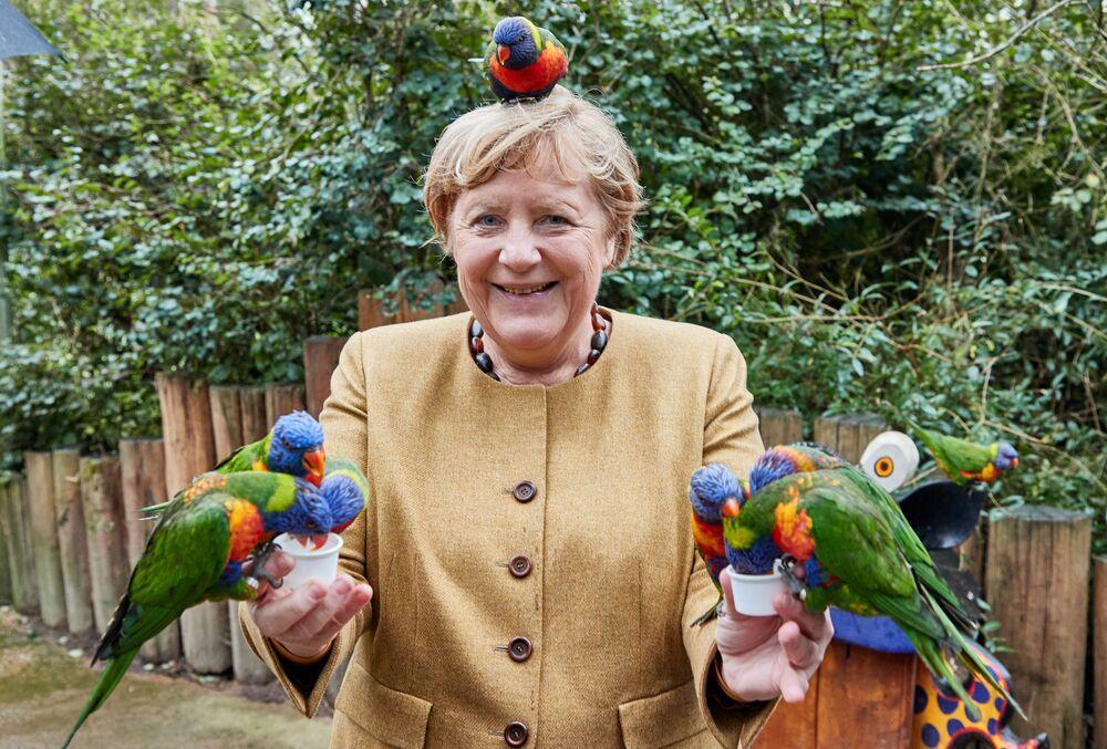 Chanceler alemã Angela Merkel alimentando pássaros no Parque das Aves em Marlow, no norte da Alemanha, em 23 de setembro de 2021