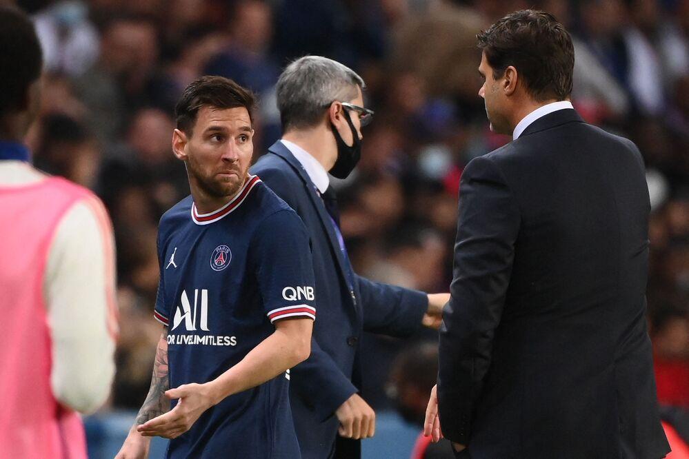 Lionel Messi durante partida de futebol entre o Paris-Saint Germain (PSG) e o Olympique Lyonnais, em Paris, em 19 de setembro de 2021