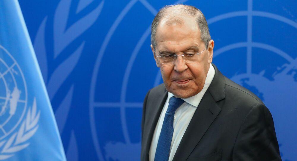 Ministro das Relações Exteriores da Rússia, Sergei Lavrov, após encontro com o secretário-geral da ONU, António Guterres, 25 de setembro de 2021