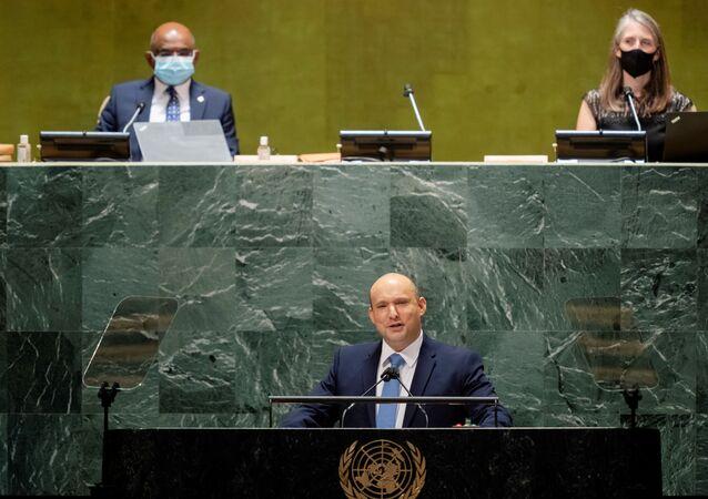 Naftali Bennett, primeiro-ministro de Israel, discursa na 76ª sessão da Assembleia Geral das Nações Unidas em Nova York, EUA, 27 de setembro de 2021