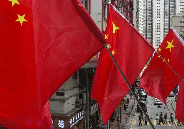 Bandeiras chinesas em Hong Kong
