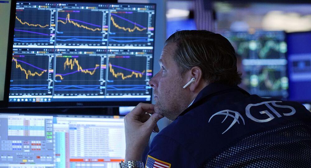 Trabalhador da bolsa de valores de Nova York, EUA, 28 de setembro de 2021
