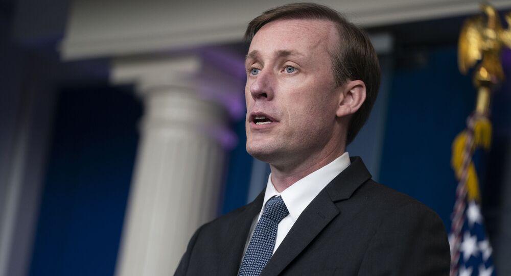 Assessor de Segurança Nacional da Casa Branca, Jake Sullivan, durante coletiva de imprensa