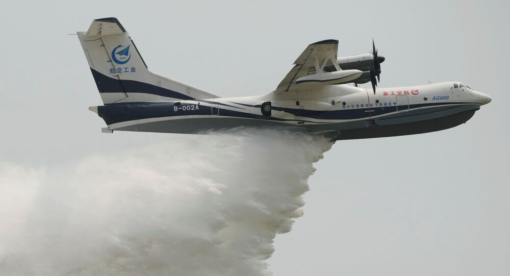 Aeronave anfíbia AG600 participa do 13º Show Aéreo da China na cidade de Zhuhai, na província chinesa de Guangdong, 28 de setembro de 2021