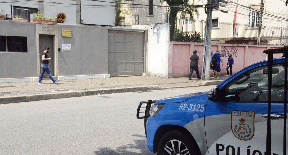 Vista do Consulado da China no Rio de Janeiro, que sofreu um atentado. Foto de arquivo