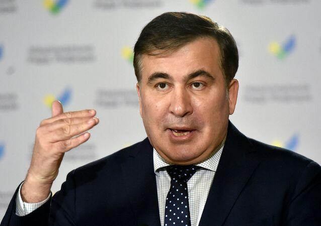 Ex-presidente georgiano Mikheil Saakashvili gesticula durante entrevista coletiva em Kiev, Ucrânia. Foto de arquivo