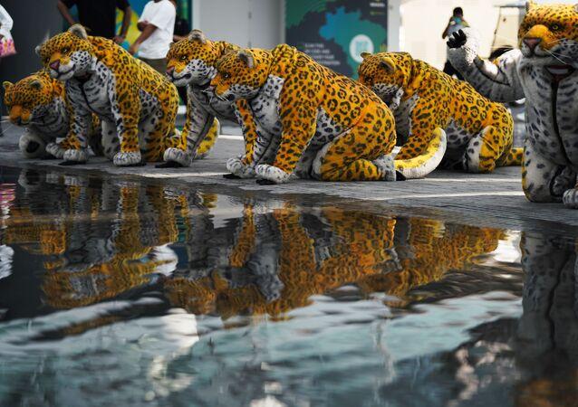 Artistas vestidos de onça posam perto da água no pavilhão do Brasil na Expo 2020 em Dubai, Emirados Árabes Unidos, 1º de outubro de 2021