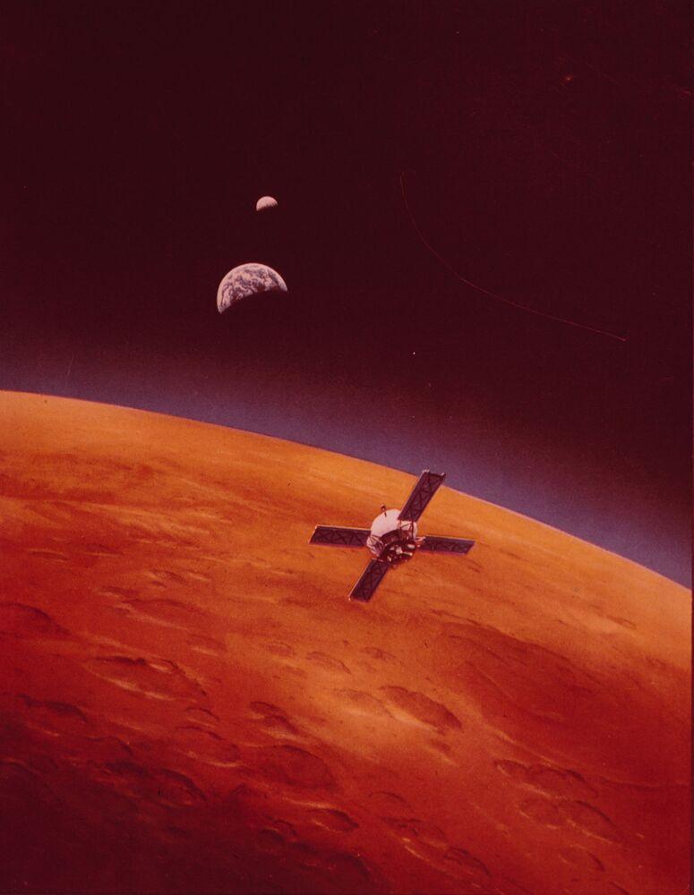 Ilustração da órbita de Marte com a espaçonave Mariner 9, colocada em sua órbita em 13 de novembro de 1971