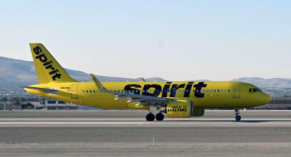 Avião da companhia aérea Spirit Airlines no Aeroporto Internacional de Las Vegas (imagem referencial)