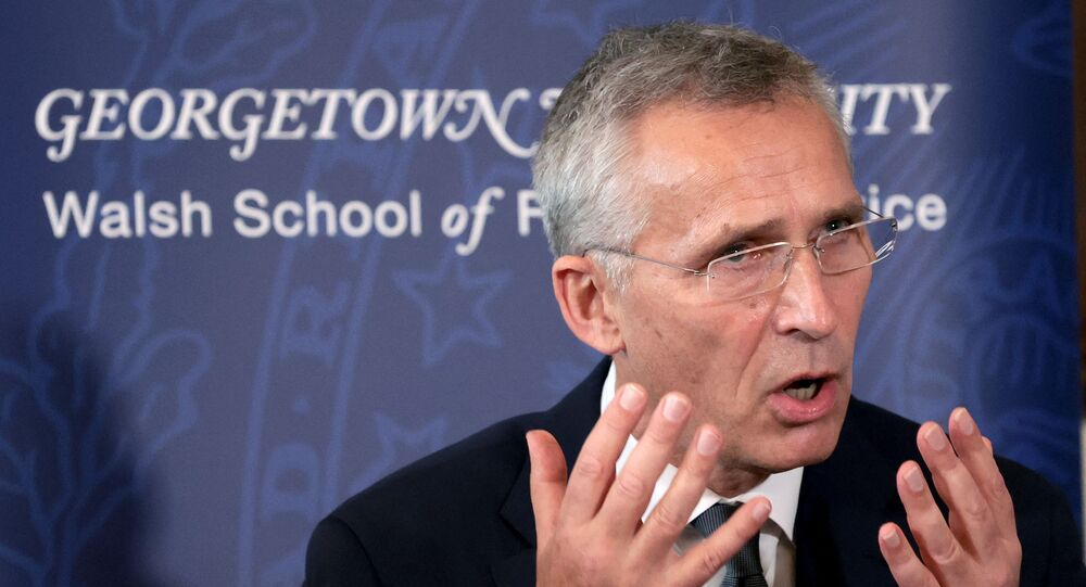 Secretário-geral da OTAN, Jens Stoltenberg, fala na Universidade de Georgetown, EUA, em 5 de outubro de 2021